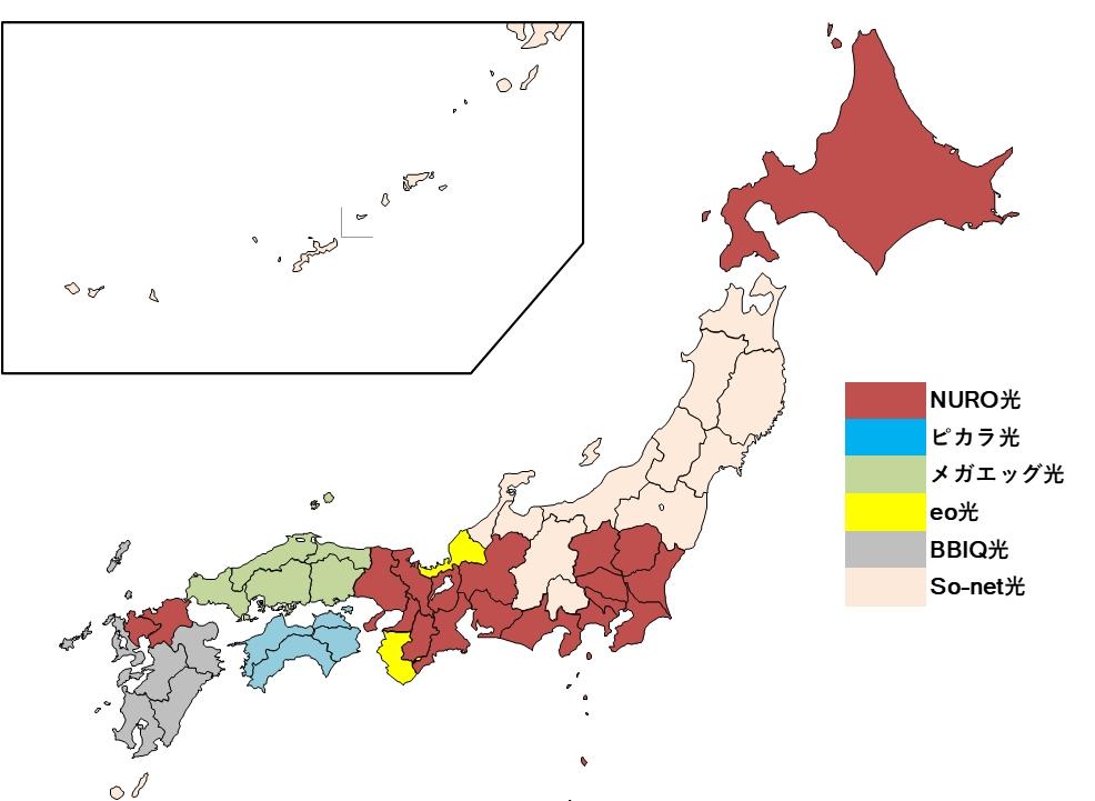 NURO光のおすすめ都道府県についてのマップ
